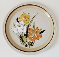 "Acsons Adela Stoneware Dinner Plate 10 1/2"" Yellow White Orange Flowers Japan"