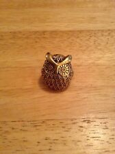 Lucky Brand Size Adjustable Gold Tone Owl Ring With Gold Crystals