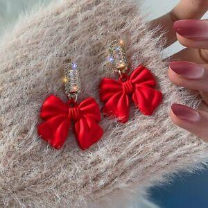 2021 Christmas Bowknot Heart Zircon Pearl Charm Women Dangle Earrings Xmas Gifts