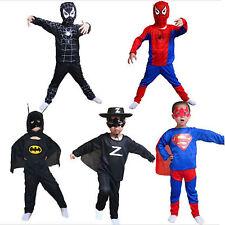 5pcs Kids Superhero Outfit Spider-Man Batman Cosply Party Fancy Dress Costume L