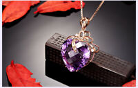 0.87ct Amethyst & Diamond 14K Yellow Gold Over Heart Pendant 18''Chain Necklace