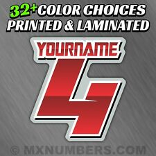 3 Motorcycle Number Name Plate Race Color Decals Sticker MX ATV SX BMX Bike Kart