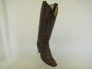 Dan Post Brown Leather Snake Line Cowboy Western Boots Womens Size 5 C