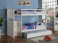 White Loft Bed with Stairs and Trundle