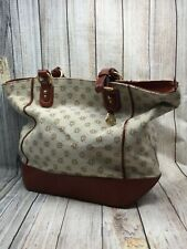 Brahmin All Day Tote Beige Brown Canvas & Leather XLG Shopper Bag