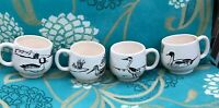 Vintage mug set Duck Loon Game Bird small espresso black white