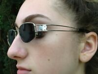 Nina Ricci Sunglasses 100% Authentic Silver Metal Frame Made in France,Dark Lens
