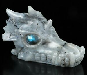 "5.3"" LABRADORITE Carved Crystal Dragon Skull, Crystal Healing"