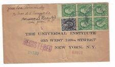 1920 San Juan Puerto Rico, Booklet Pane #405, Registered to New York