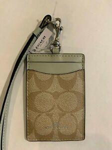 Coach ID Badge Lanyard w/ Card Slot in Signature Canvas  light khaki, pale green