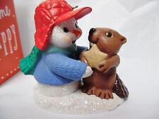 Snow Buddies Snowman & Beaver with Cookie Ornament HALLMARK 2015 New in Box