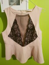 Forever 21 Plus Size Mesh Peplum Top Nude/black Size 1x
