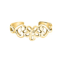 Cut Out Flower Midi Ring Heart Toe Rings Solid 14K Yellow Gold Over Adjustable