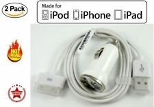 2PART Kit OEM Apple iPhone 4s Car Charger w/ 30 pin Connector USB sync cable New