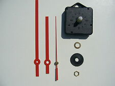QUARTZ CLOCK MECHANISM LONG SPINDLE 130mm RED HANDS