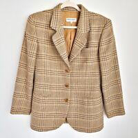 Giorgio Armani Le Collezioni Tweed Blazer Jacket Womens 42/8 Check Button Front