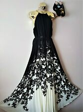 Ted Baker Breathtaking Jolena Ivory Black Floral Maxi Pleat Evening Dress 12 TB3