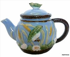 CBK Ltd.Nouveau Majolica Teapot 1998 Light Blue Birds & Cattails FREE SHIPPING