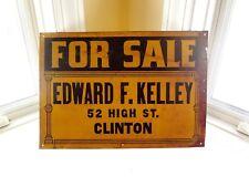 Vintage Orig. 1940's Metal Sign REAL ESTATE FOR SALE Clinton CT Brown & Bigelow