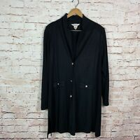 Exclusively Misook Black Long Duster Cardigan Womens Size XL