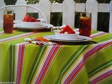 Green Multi Color Stripes 8 Napkins & 60x84 Fabric Patio Umbrella Tablecloth Nip