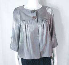 New-Small petite-Michael Kors-Women Swing Jacket-Metallic Soft Cropped Top-Lined