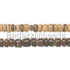 30 Natural Wooden Coconut Shell 5mm Rondelle Wood Spacer Barrel Beads w/1mm Hole