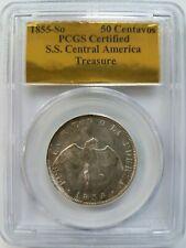 1855-So Chile 50 Centavos SS Central America Gold Label PCGS Treasure Shipwreck