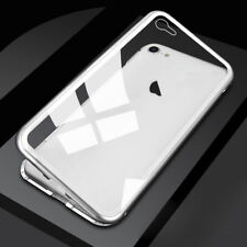 For Apple iPhone XS X Case Luxury Magnetic Metal Frame Tempered Glass Back Cover
