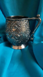 Antique Victorian Reed & Barton Mug with Raised Floral Detail