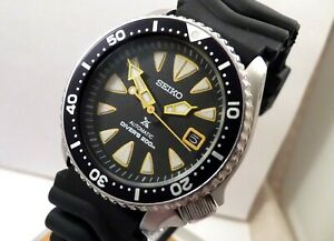 Seiko Prospex New Monster Black Yellow Tuna Divers Date Automatic Watch Mod 7002