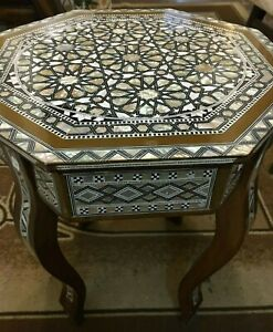 "Antique wood End Table Inlaid Mother of Pearl (16"")"