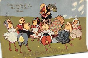 G46/ Easter Postcard Holiday c1910 Dressed Chickens Chicago Tailor Ad 2