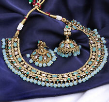 Ethnic Indian Bollywood Gold Tone Bridal Choker Necklace Earring Wedding Jewelry