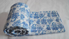 New Indian Cotton Hand Block Print Twin Quilt Kantha Bedspread Coverlet Bedding