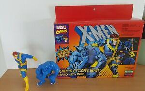 2 Figurine Marvel X-Men Cyclope Beast  ARTFX Kotobukiya xmen animated 92 fauve