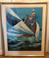 Vintage Mark King Sailing Serigraph Hand Signed and  Numbered Limited Edt. 33X27