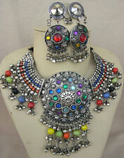 Statement Necklace Bib Choker Boho Gypsy Vintage Kuchi Tribal Festival Jewelry