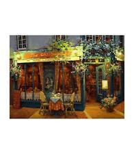 "Viktor Shvaiko ""London at Night"" Cafe on street Hand Signed# Embellished Canvas"