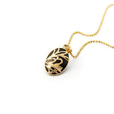 MB Jewelry Korean Traditional Sculpted Gold Swan Onyx Oval Pendant