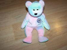 TY Beanie Baby BB Birthday Bear Tie Dye Teddy 1999 Pastel Colors Pink Blue EUC