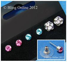 Nuevo 3 Par Juego De Tarjetas De Diamante Cristal pendientes de 5 Mm Redondo Azul Rosa 9mm Bola Tachas