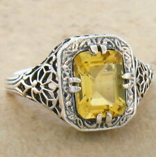 GENUINE CITRINE 925 STERLING SILVER ANTIQUE FILIGREE STYLE RING SIZE 9,  #681