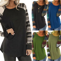 Womens Autumn Long Sleeve Striped Tops Ladies Loose Jumper Blouse Plus Size Tops