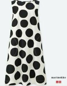 EUC MARIMEKKO X UNIQL* women's monochrome polka dot sleeveless midi dress szM