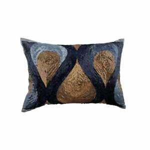 Decorative 12x16 inch Blue Art Silk Lumbar Oblong Pillow Cover-Turn blue to Gold