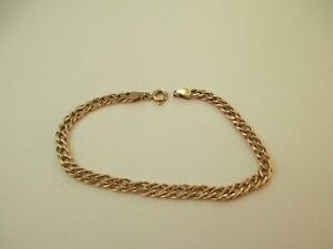 LOVELY PRE-OWNED, HALLMARKED 9ct YELLOW GOLD, DOUBLE LINK BRACELET 2.4g