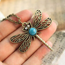 Dragonfly Necklace Pendant charm turquoise flying Chain UK seller