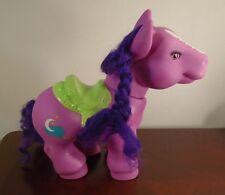 "My Little Pony Horseshoe Pink w/ Green Saddle - Moon Stars Cloud Purple Hair 11"""