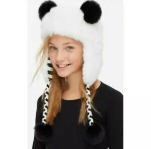NWT Justice Faux Fur Plush Panda Sledding Hat  /Ear Flaps /Aviator Black/White